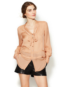 Raw-Edge Silk Lara Blouse