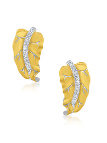 Two Tone &amp; CZ Leaf Earrings