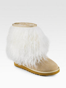 UGG Australia Sheepskin-Cuff Suede Short Boots