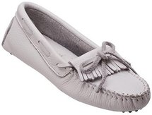 MINNETONKA MOCCASIN 594 White Leather Driving Moc