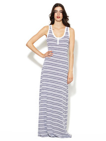 Jersey Slub Stripe Maxi Dress