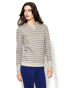 Metallic Stripe French Terry Pullover