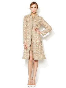 Embroidered Scalloped Overcoat