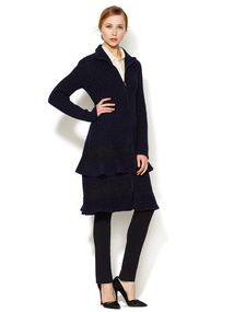 Tiered Lace Wool Coat