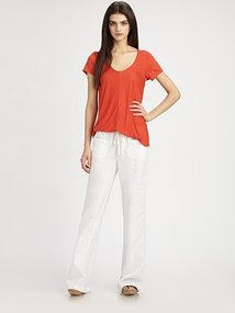 Vince Semi-Sheer Linen Drawstring Pants