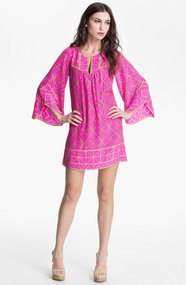 ALICE &amp; TRIXIE &#x27;Jillian&#x27; Bell Sleeve Silk Tunic Dress