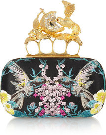 Alexander McQueen Knuckle embroidered satin box clutch