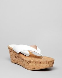 Stuart Weitzman Platform Wedge Thong Sandals - Clasp Cork