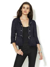 Tweed Button Peplum Jacket