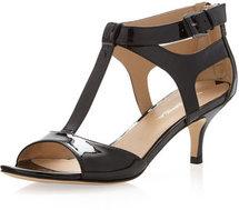 Via Spiga Lindsie Patent T-Strap Kitten Heel Sandal, Black