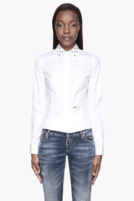 DSQUARED2 White and gold studded Collar blouse