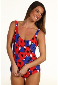 DKNY - Agnes Floral Low Back Tank Maillot (New Red Multi) - Apparel
