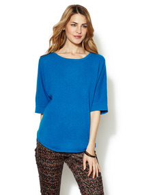 Cashmere Shirt Tail Short Sleeve Sweater
