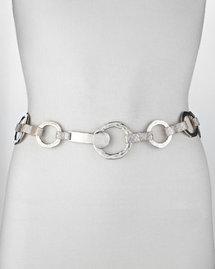 Suzi Roher Silvertone Hammered O-Ring Belt