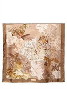 Tiger Print Silk Scarf