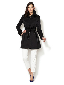 Patent Trim Cotton Trench Coat