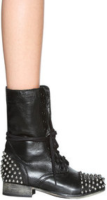 Tarnney Studded Boot in Grey Leather - by Steve Madden