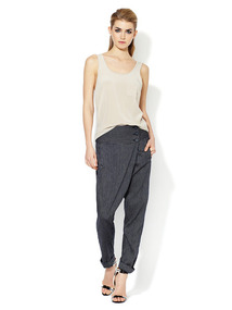 Striped High Rise Wrap Front Pant