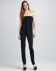 Halston Heritage Strapless Draped Jumpsuit