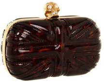 Alexander McQueen - Britania Skull Box Clutch (Tortoise Brown) - Bags and Luggage