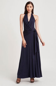 Three Dots Faux Wrap Halter Maxi Dress