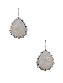 Dew Drop White Drusy Teardrop Earrings