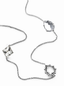 Melia Multi-Cut Rock Crystal &amp; White Topaz Station Necklace