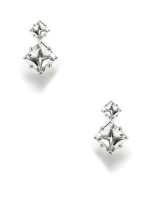 Carre Rock Crystal Double Drop Earrings