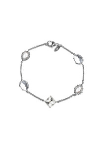 Melia Multi-Cut Rock Crystal &amp; White Topaz Station Bracelet