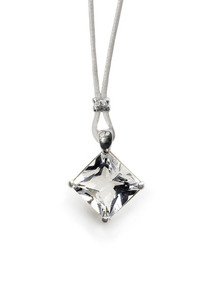 Carre Cord &amp; Rock Crystal Pendant Necklace