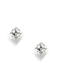 Carre Mini Rock Crystal Stud Earrings