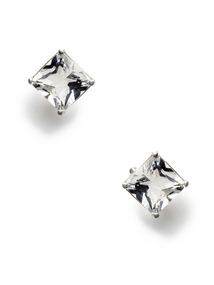 Carre Rock Crystal Stud Earrings