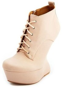 Lace-Up Heel-Less Wedge Bootie