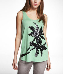 Express Womens Sequin Palm Hilo Hem Tank Tropic Green
