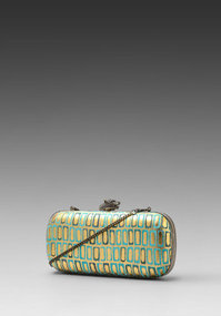 House of Harlow Addison Clutch in Turquoise/Gold