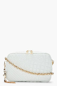VERSACE White Lamb Leather Embossed and quilted Bag