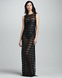 OYE Swimwear Sleeveless Lace Tunic Coverup, Black