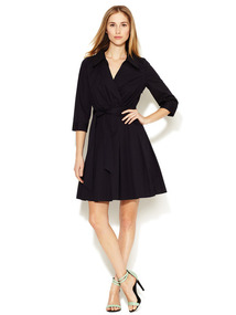 Pleated Stretch Cotton Wrap Dress