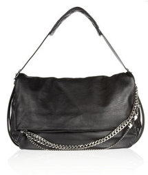Jimmy Choo Biker chain-trimmed textured-leather shoulder bag