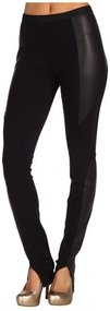 BCBGMAXAZRIA - Lewis Faux Leather Detail Legging (Black) - Apparel