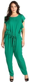 DKNYC - Plus Size Cap Sleeve Ruffle Front Jumpsuit (Meadow) - Apparel
