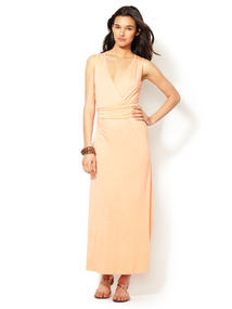 V-Neck Jersey Knit Maxi Dress