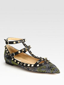 Valentino Camouflage Crystal-Coated Leather Ballet Flats