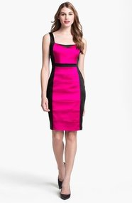 JAX Colorblock Seamed Sleeveless Sheath Dress
