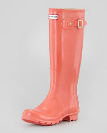 Hunter Boot Original Gloss Welly Boot, Flame Coral