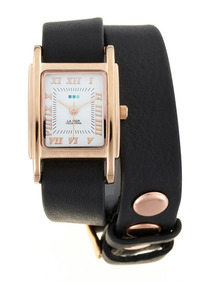 Women's Black Leather Wrap Watch