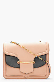ALEXANDER MCQUEEN Blush & Black Leather Heroine Chain-Strap Bag