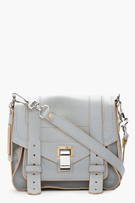 PROENZA SCHOULER Grey &amp; Banana Yellow Leather PS1 Pouch Shoulder Bag