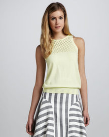 Milly Alana Netted Knit Top