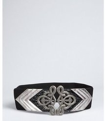 Fashion Focus pewter stretch faux leather &#x27;Deco&#x27; wide belt